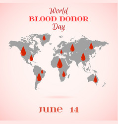 Drops of red blood over world map vector