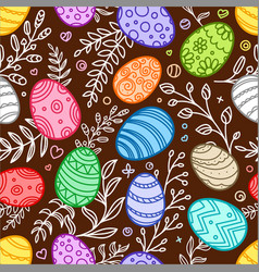 easter seamless background festive elements vector image