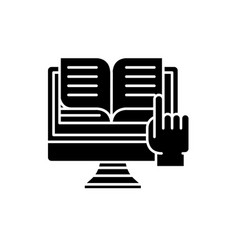 Ebooks black icon sign on isolated vector