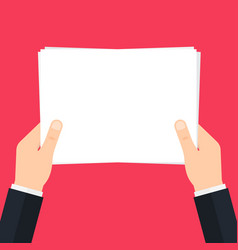 empty white paper list in the hands vector image vector image