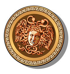 engraved head medusa gorgon head isolated vector image