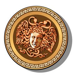 engraved head of medusa gorgon head isolated vector image