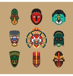 Ethnic mask icons vector