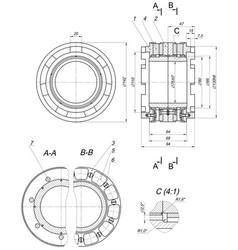 Expanded bearing sketch with numbers vector