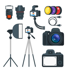 Flat style set of photo equipment vector