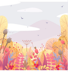 Floral background with autumn leaves and berries vector