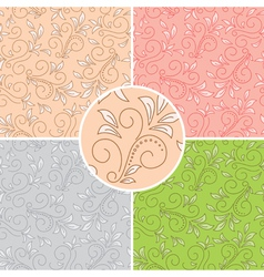floral seamless patterns - colored backgrounds vector image