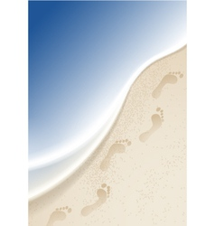 Footprints in the sand by the sea vector