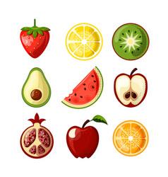 fresh juicy fruit flat icons isolated on white vector image