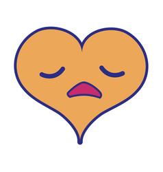 full color sad heart passion kawaii character vector image