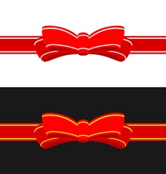 Gift ribbon with red bow Horizontal ribbon vector image