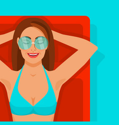 girl with glasses on inflatable mattress in pool vector image