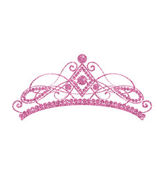 Glittering diadem pink tiara isolated on white vector
