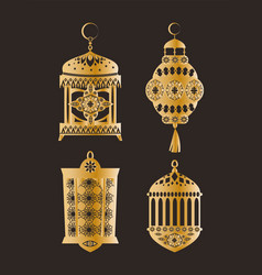 gold shiny oriental lanterns with patterns set vector image