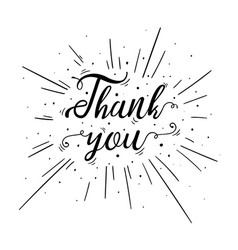hand lettered thank you text with burst vector image