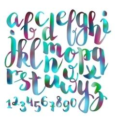 Handwritten brush pen colorful font vector
