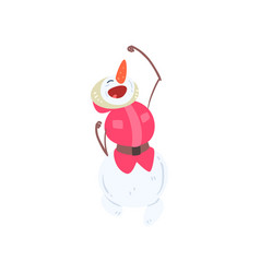happy funny snowman character christmas and new vector image