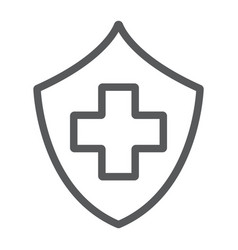 health insurance line icon safety and care vector image