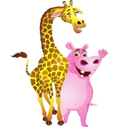 Hippo and giraffe vector