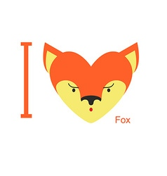 I love Fox Cute head foxes in shape of a heart vector image
