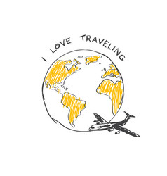 i love trabeling sketch logo airplane flying vector image