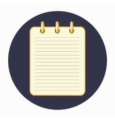Icon of the yellow notepad on the rings vector