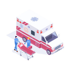 Isometric ambulance service with emergency car vector