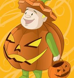 jack o lantern halloween costume vector image