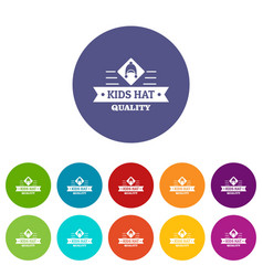Kid hat icons set color vector