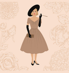 Lady in retro style dress vector