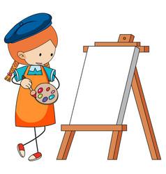 Little artist cartoon character with blank board vector