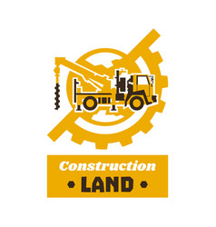 logo construction equipment globe earth gear vector image