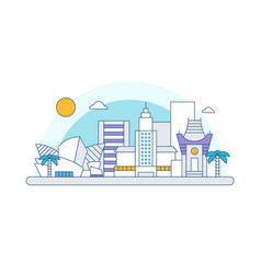 los angeles california skyline flat line vector image