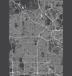 los angeles city plan detailed map vector image