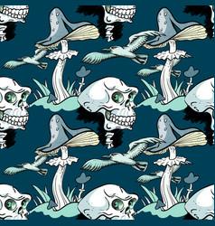 Magic mushroom skull and seagull seamless pattern vector