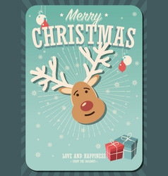 merry christmas card with reindeer and gift boxes vector image