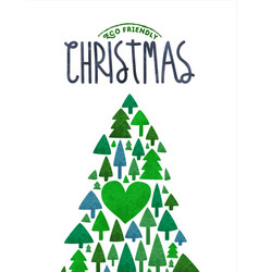 merry christmas eco card green watercolor tree vector image