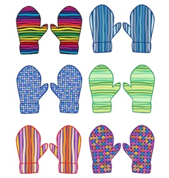 mittens with geometrical patterns vector image