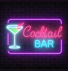 Neon cocktail bar and cafe glowing sign with vector