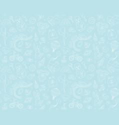newborn boy baby shower seamless doodle line vector image