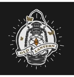 Old kerosene lamp Vintage emblem vector