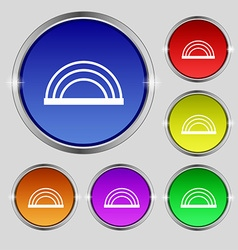 Rainbow icon sign Round symbol on bright colourful vector