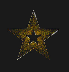 realistic metallic golden star star burst with vector image