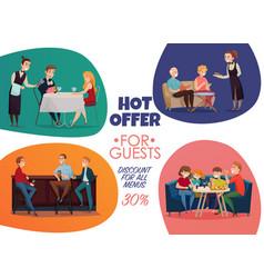 restaurant pub visitors poster vector image