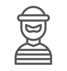 robber line icon burglar and criminal bandit vector image