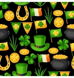 Saint Patricks Day seamless pattern Flag Ireland vector image