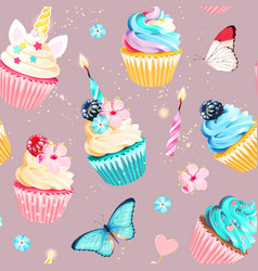 Seamless pattern with cupcakes and candles vector