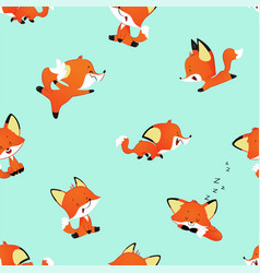 seamless pattern with cute cartoon fox vector image