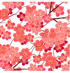 seamless pattern with sakura flowers branches vector image