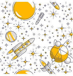 Seamless space background with rockets planets vector